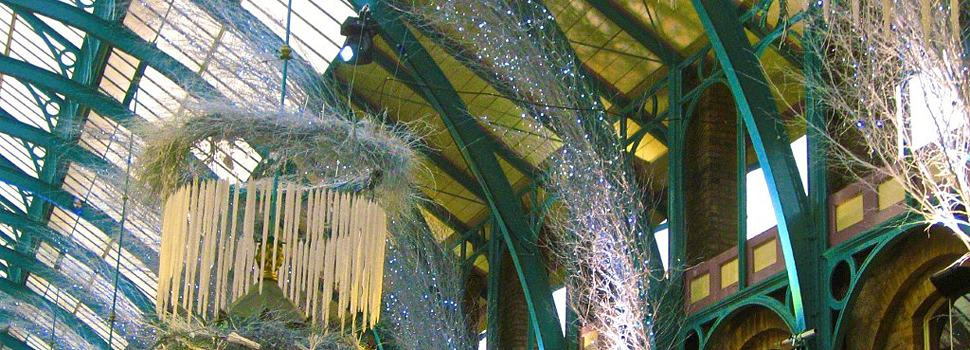 Painted birch branches decorated with lights at Covent Garden picture 2